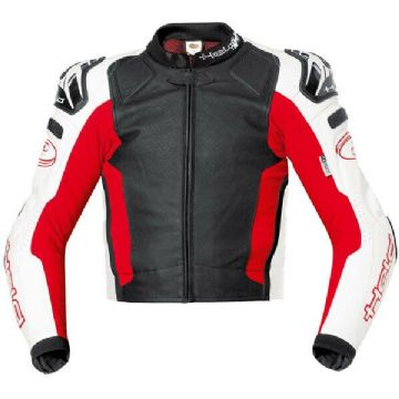 Held Safer Leather Motorcycle Motorbike Sports Jacket SASTEC 3D armour Black Red